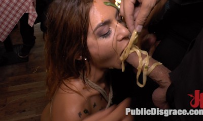 Party Girl Gets Pasta with a Side of Balls in her Mouth