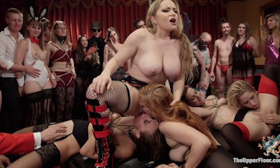 200 horny BDSM swingers fuck & play as our anal slaves furiously bounce on cock, lick pussy, and take cruel punishment for the screaming crowd